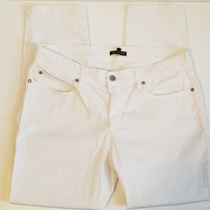 EILEEN FISHER 12 WHITE SKINNY CROP ANKLE JEANS